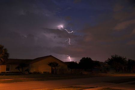 Summer storm lightning strike in a local neighborhood Stock Photo - 3350323