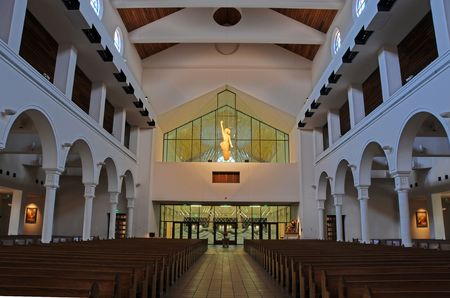 Blended exposure on a christian church interior showing the risen Christ Stock Photo - 3460539