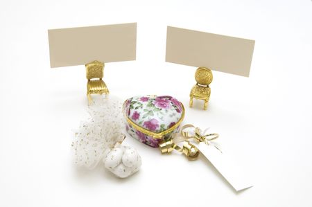wedding favors: Wedding favors on white with a place for text Stock Photo