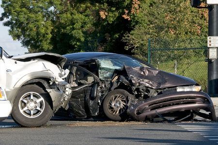 Two Vehicle accident at a busy intersection Stock Photo - 3778439