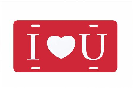 license plate: Red I Heart You License Plate illustration with white background and lettering