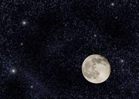 Near full moon on a large star field