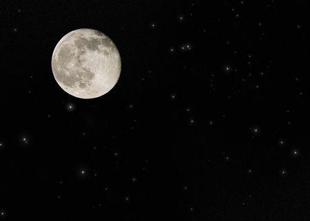 Bij volle maan op een grote ster veld
