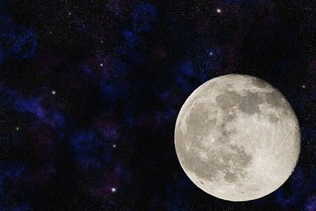 Moon with numerous galaxies and nebulae in the background Stock Photo - 4521563