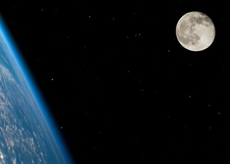 Near full moon on a large star field with the Earth in the foreground