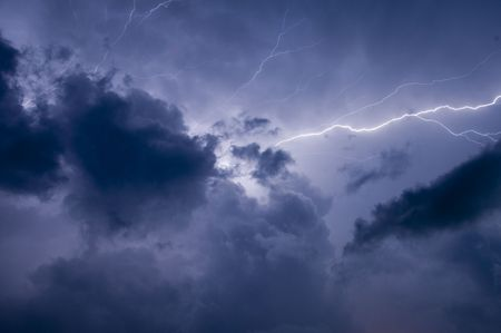 streak lightning: Electrical storm after sundown in Florida Stock Photo