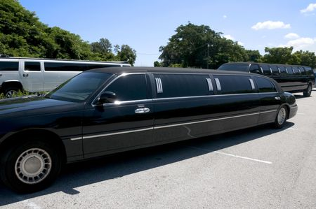 Multiple Limos waiting for guests to arrive photo