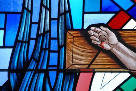 Vitral de la crucifixión de Jesús Foto de archivo - 5299375