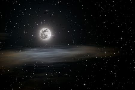 Full moon on a hazy night over passing clouds with large star field Stock Photo