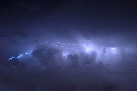 Cloud to Cloud Lightning Strike Before Rain Showers Stock Photo - 5362835