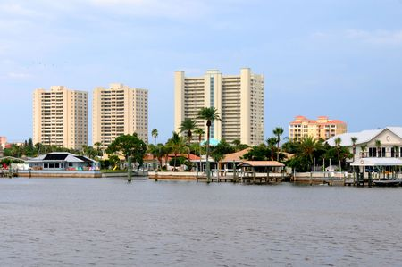 Highrise Condominiums from the inter coastal Waterway