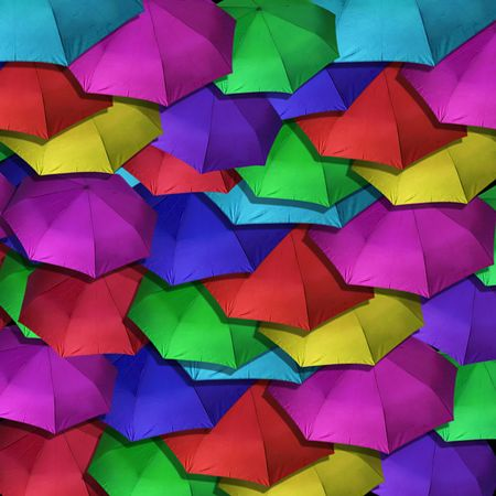 Many colorful pastel umbrellas for background or wallpaper use Stock Photo - 5844415