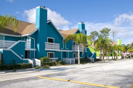 abandon: Brightly colored Abandon condominiums due to recession Stock Photo