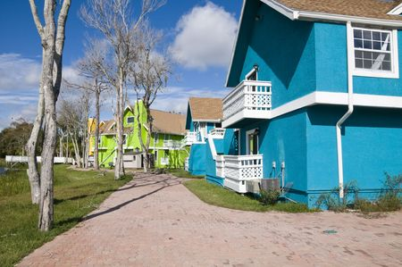 Brightly colored Abandon condominiums due to recession photo