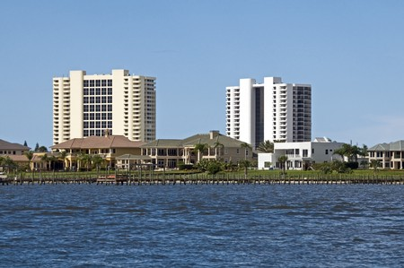 High Rise condominiums and luxury homes on South Daytona intercoastal waterway Stock Photo
