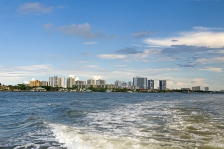 South Daytona skyline showing numerous condo high rise building from a water craft Stock Photo