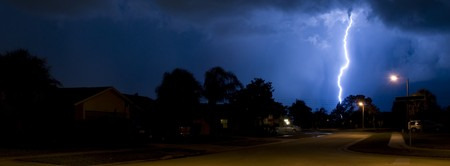 Banner image of a Lightning strike in a local neighborhood in a rain column Stock Photo - 7488455