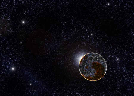 Near dead planet on a large star field Stock Photo - 7542652