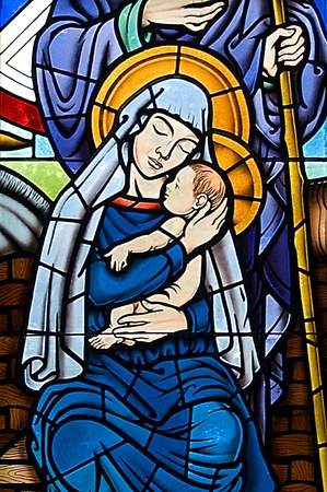 Blessed Mother and Child Stained Glass segment Stock Photo