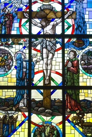 Crucifixion of Jesus Christ stained glass window Stock Photo - 13096999