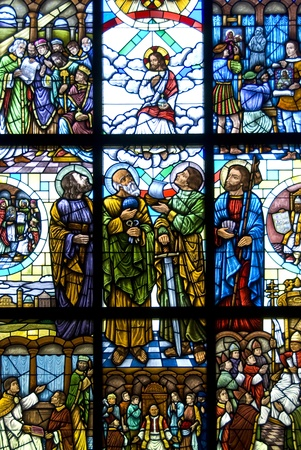 antique jesus: Stained Glass window of the risen Jesus Christ