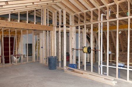 New Room addition construction to existing home Stock Photo