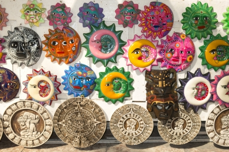 novelty: Colorful hand painter Mayan wall plaques showing many symbolic faces