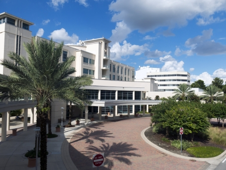 Front entrance to a modern hospital with palm tree landscaping and blue sky