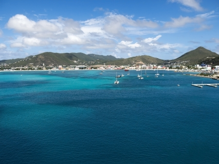 Bay of Saint Maarten also know as St Martin with Beautiful Blue water and Sky
