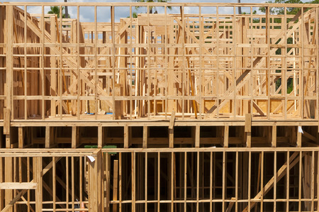 Multi Level Wood Frame Building Construction With Partly Cloudy ...