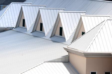Unique triangle metal roof designed for maximum rain repulsion 스톡 콘텐츠