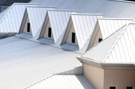 roofing: Unique triangle metal roof designed for maximum rain repulsion Stock Photo