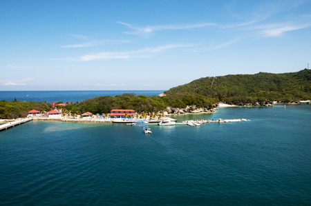 Labadee Haiti tourist destination with beautiful blue green bay water.