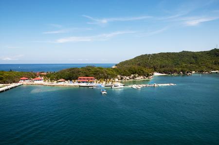 haiti: Labadee Haiti tourist destination with beautiful blue green bay water.