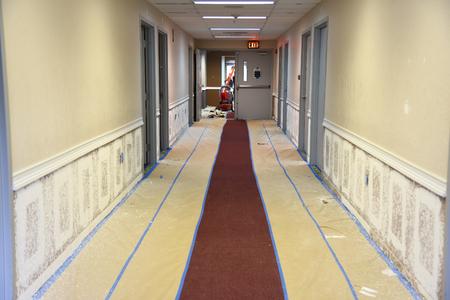 Renovar y volver a pintar paredes de los pasillos del edificio de oficinas utilizando el método de pulverización y encintado para proporcionar protección de la alfombra