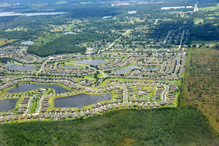 suburbia: High altitude aerial view of a residential sub-division at roughly 5000 feet