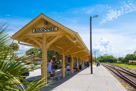 Kissimme Florida - June 4th 2009:   Kissimmee Florida outdoor train station platform, Kissimmee Floirda, June 4th, 2009