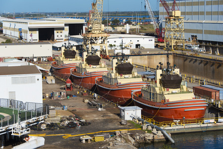 Tampa Florida - February 11th 2016:   Four Identical Construction boats in dry dock for repairs, February 11th, Tampa Florida
