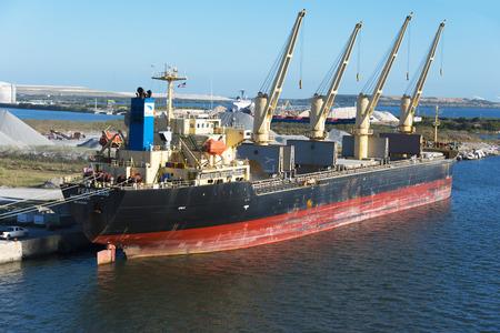 Tampa Bay Florida - February 11th 2017:   Dredging tanker docked for repairs, Tampa Bay Florida - February 11th 2017 Editorial