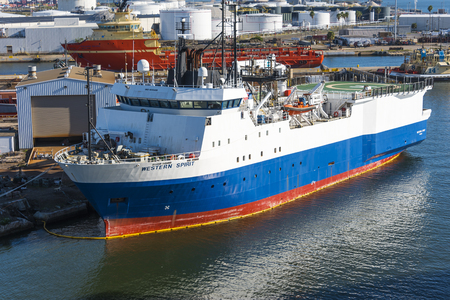 Tampa Florida - February 11th 2016:   Oceanographic ship  Western Spirit in Tampa Bay for repairs, February 11th, Tampa Florida