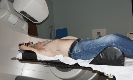 radiotherapy: Patient Radiation therapy laser markings lines for targeting cancer cells in the Chest Stock Photo