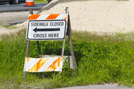 Sidewalk Closed Signage Stock Photo