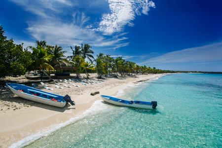 catalina: two fishing boats in Catalina island beach, a desert island near Punta Cana , Dominican Republic