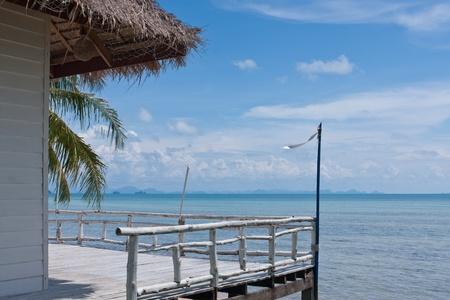 seaview: tropical balcony with sea view at Samui island,Thailand Stock Photo
