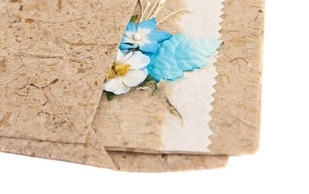 handmade mulberry art paper card with flower  photo