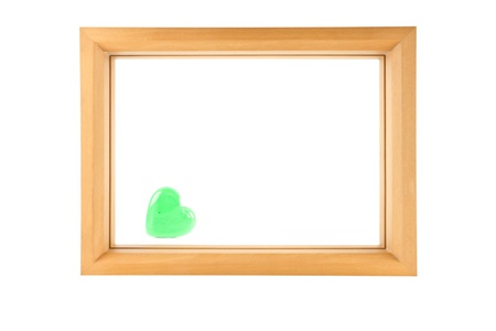 wood frame and green heart isolated on white ,can use as white board photo