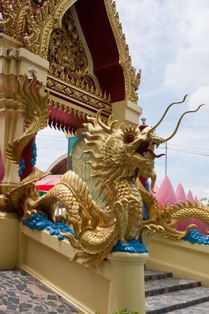 ar: glold dragon ar thai-china  temple Stock Photo