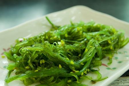algas marinas: Cocina japonesa, ensalada de algas en el plato blanco
