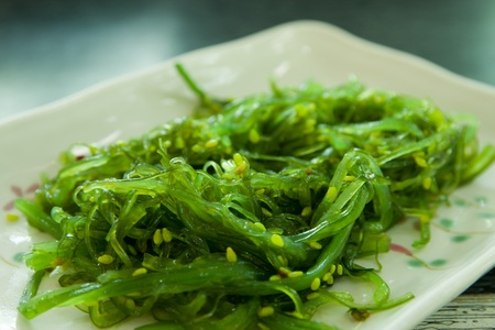 Japanese Cuisine, Seaweed Salad in weißen Platte