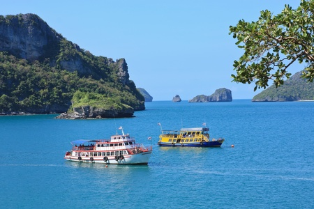 Sea landscape with boat in Thailand  photo
